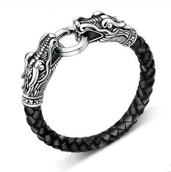 Leather Tibetan silver men bracelet titanium fashion male vintage accessories parataxis dragon bracelet men jewelry