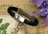 Leather Bracelets Bangles For Men's Gold Charm Style Stainless Steel Button
