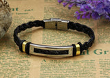 Hot Sale Fashion jewelry Stainless Steel Men Bracelet Silver/Gold PU leather Bracelets Bangles for men