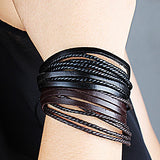 Fashion Leather Brown Black Men's Wrap Bracelet