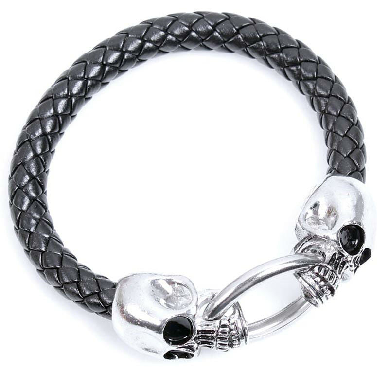 Cool Wholesale Braided Leather Punk Skull Head Bracelet Bangle Wristband For Men Gift