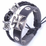 Genuine Leather Cross Charm Bracelet Bangle Adjustable Wristband Men Gift