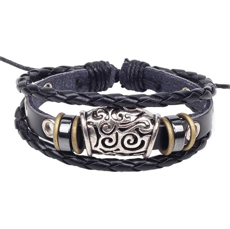Handmade Genuine Leather Adjustable Bracelet Wristband Jewelry Unisex