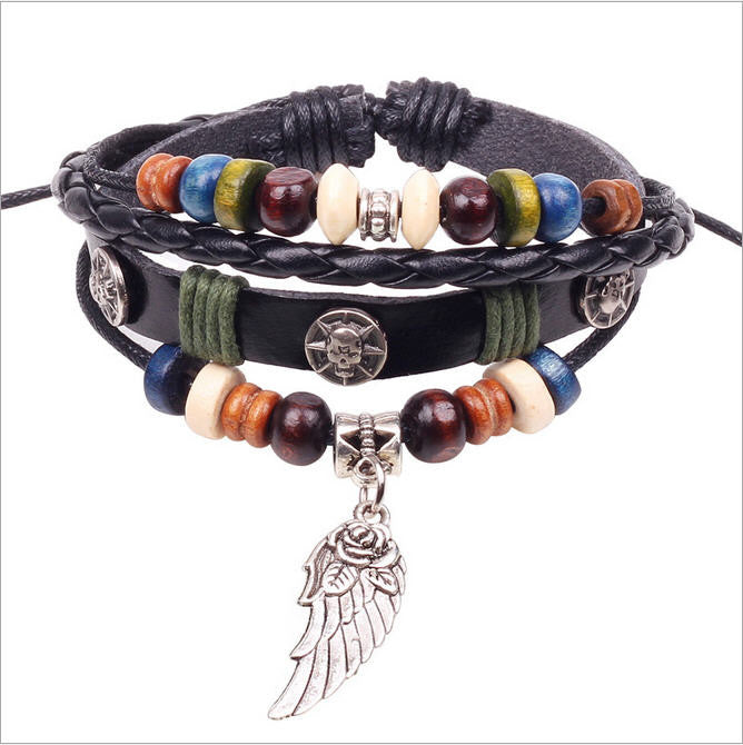 Wing Feather Charm Handmade Genuine Leather Adjustable Bracelet Wristband Jewelry Valentine's Day Gift Men Women bracelets
