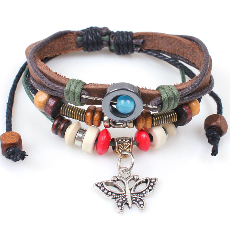 Genuine Leather Butterfly Charm Handmade Wrap Fashion Bracelet Wristband Adjustable