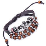 Leather Cross Tibitan Zen Charm Beads Handmade Bracelet Bangle Adjustable Wristband