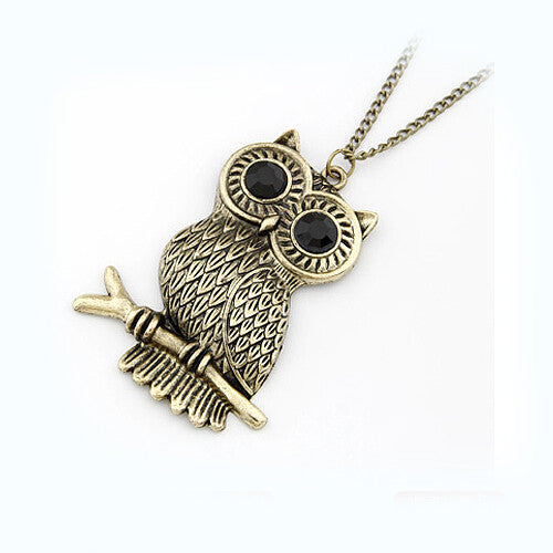 Retro metal black gem eyes owl Pendant necklace Fashion High Quality Sweater chain Statement jewelry for women