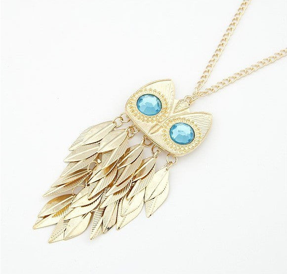 Leaves tassel owl necklace