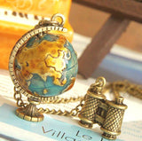 Fashion vintage Telescope World Earth necklace