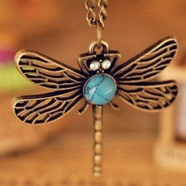 Fashion Vintage Dragonfly Necklace for women fashion statement jewelry