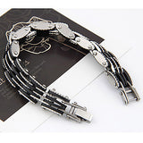 Men's Silver Plated Alloy Multi-row Connected Bracelet