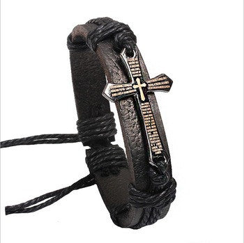 Vintage men jewelry Scripture cross metallic Black & brown Leather Braid Bracelets & Bangles