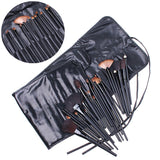 Professional 32 PCS Cosmetic Facial Make up Brush Kit Wool Makeup Brushes Tools Set with Black Leather Case