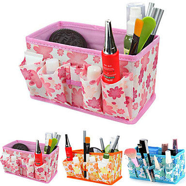 Folding Quadrate Cosmetics Storage Stand Box Makeup Brush Pot Cosmetic Organizer