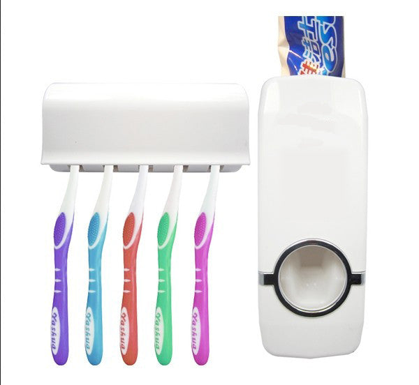 Fashion Automatic Toothpaste Dispenser +Toothbrush Holder Set Family Set Wall Mount