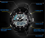 Casual Men Sports Watch 2 Time Zone Digital Quartz Watch Fashion Dress Wristwatches LED Dive Military Watches