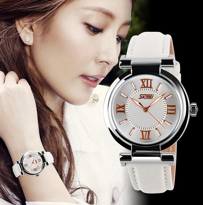 New Women Dress Watches 3ATM Waterproof Genuine Leather Strap Fashion Quartz Watch Student Wristwatch