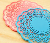 High quality Translucent openwork lace coasters Nice Insulation coasters cute Cup mat
