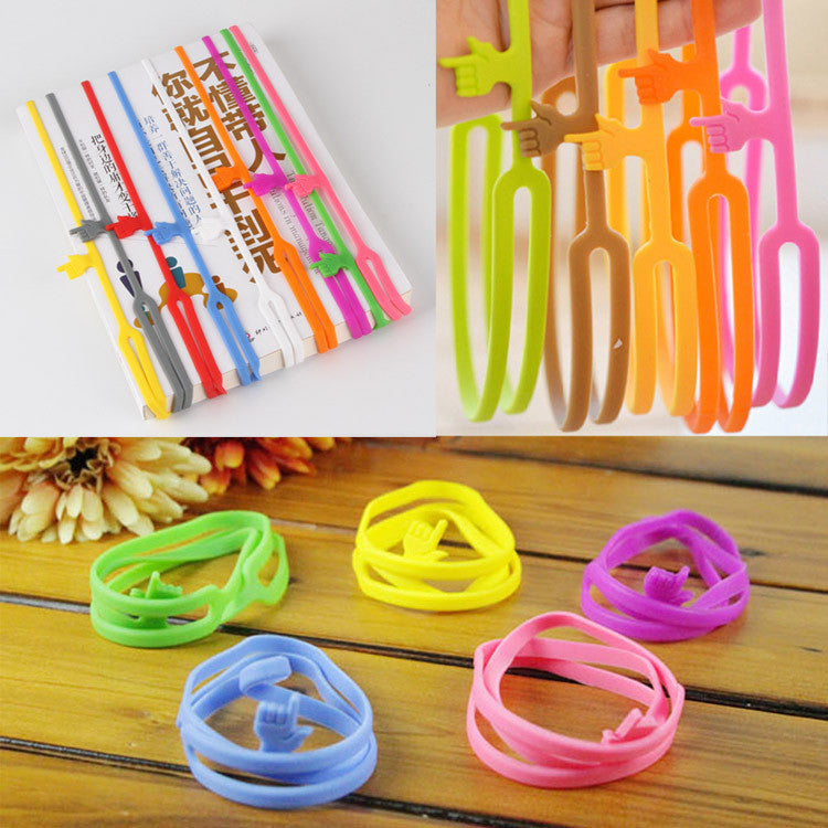 10pcs/set Cute Silicone Finger Pointing Bookmark Book Mark Office Supply Funny Gift