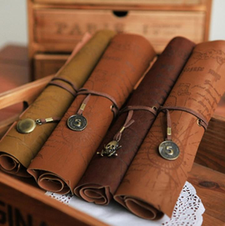 Retro Vintage Pirate Roll Up PU Leather Pen Pencil Case Bags Treasure Map Kid Party Gift Favor Make up Cosmetic Bag