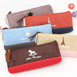 Vintage Canvas Tower Eiffel School Pencil Cases Korean Zipper Pencil Bag