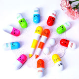 6PCS Cute Smiling Face Pill Ball Point Pen Pencils Telescopic Vitamin Capsule Ballpen for School Use