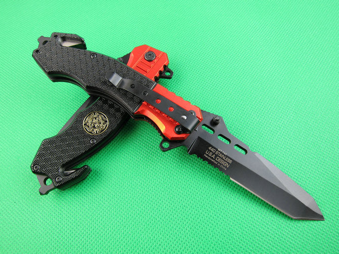 Survival Pocket Folding Knife Aluminiu Handle RED and Black Collection Knives