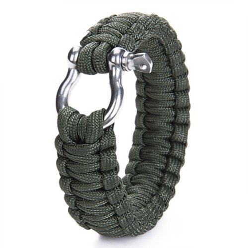Survival Bracelet with Stainless Steel Bow Shackle Paracord BucklesTravel Kit Survival Tool For Camping