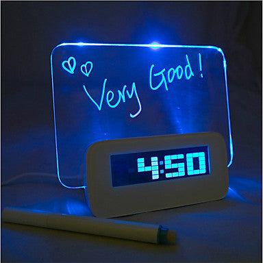 Blue Light Timer Digital Message Board Clock Alarm Temperature Calendar