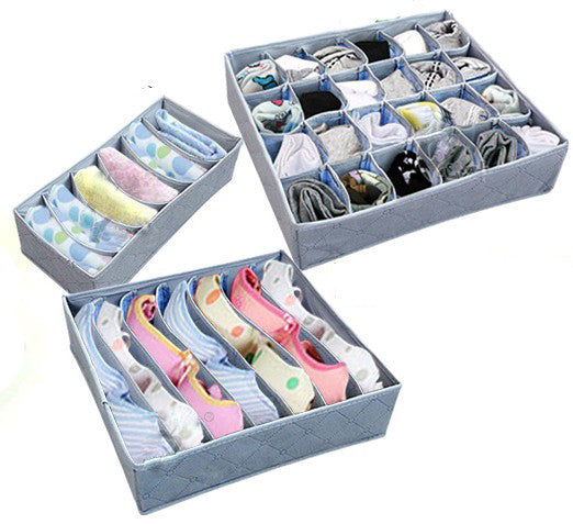 Three Pieces a Set Foldable Box Bamboo Charcoal Fibre Storage Box for bra underwear necktie socks