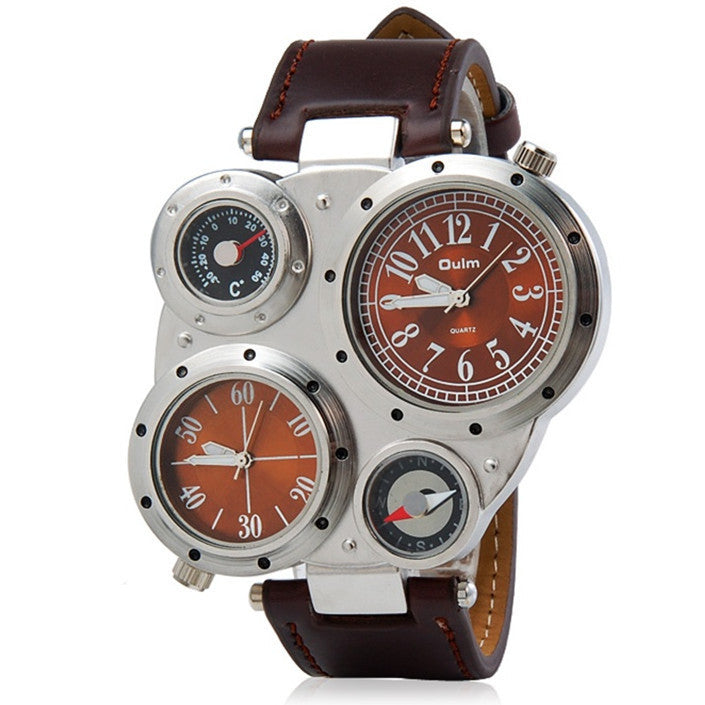 Top Brand Oulm Multi-Function Watch for Men with White or Black or Brown Round Dual Movt Black Case Genuine Leather