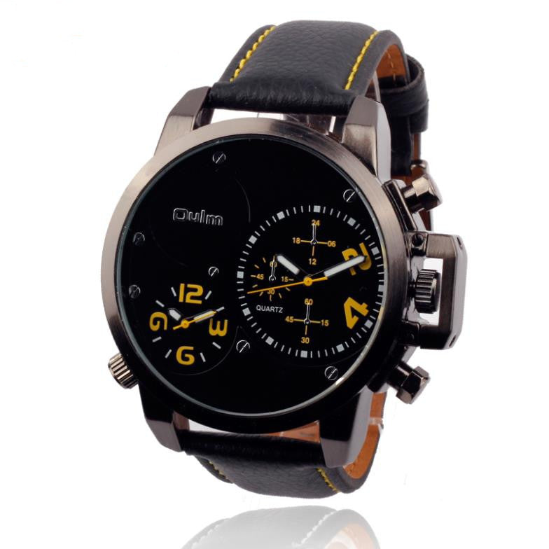 Fashion OULM Multiple Time Zone Sports Watch for Men Leather Strap Quartz Russia Military Wristwatch