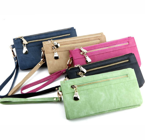 Fashion Women Wallets Dull Polish Leather Wallet Double Zipper Day Clutch Purse Wristlet Portefeuille Handbags