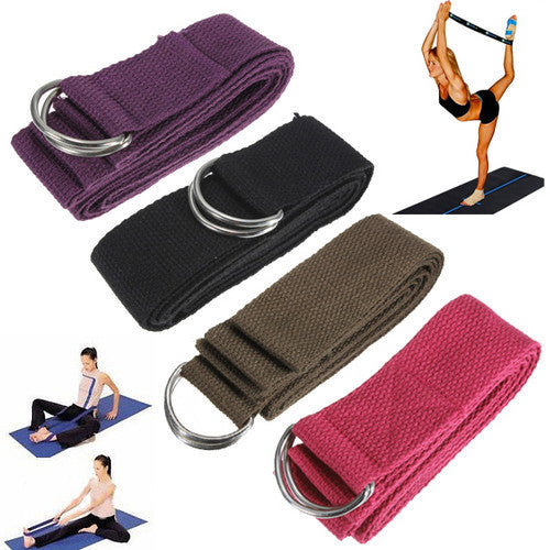 Yoga Stretching Stretch Strap D-Ring Pilates Belt Figure Waist Leg Fitness Exercise Gym