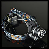 BORUIT RJ-3000 4 Modes 3xCree XM-L T6 4000 Lumens Rechargeable Headlamp(Black,2x18650)