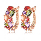 New Flower Earrings18K Rose Gold /Gold Plt Inlay Multicolor Cubic Zircon Stud Earrings For Women