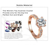 Brand Wedding Jewelry Ring18K Rose Gold /Platinum Plate Round Cubic Zirconia Women Finger Rings