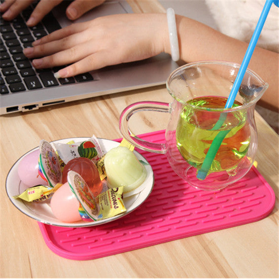 Table mats heat pad Rectangle non-slip soft silicone table pads kitchen good cooking tools 22*16cm