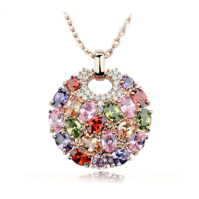 Hot Sell Multicolor Crystal Round Necklaces & Pendants for Women 18k Gold Plated Swiss CZ Zircon Jewelry