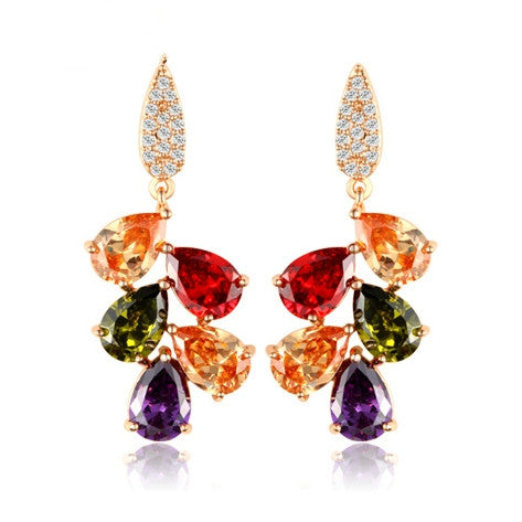 Fashion 18K Rose Gold Plated Drop Earrings Mona Lisa for Women Multicolor Zircon