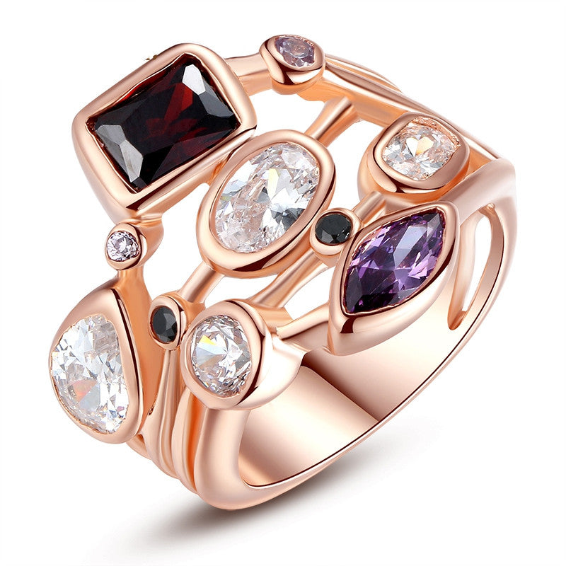 Fashion 18K Rose Gold Plated Finger Ring for Women Ladies with AAA Multicolor Cubic Zircon Anniversary Jewelry Gift