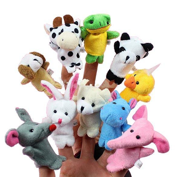 Cartoon Biological Animal Finger Puppet Plush Toys Child Baby Favor Dolls-10pcs/set