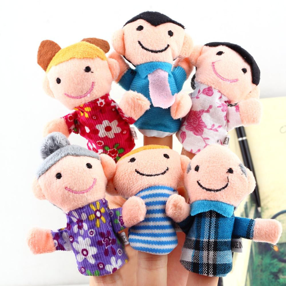 Finger Plush Puppet Happy Family Story Telling Dolls Support Children Baby Educational Toys