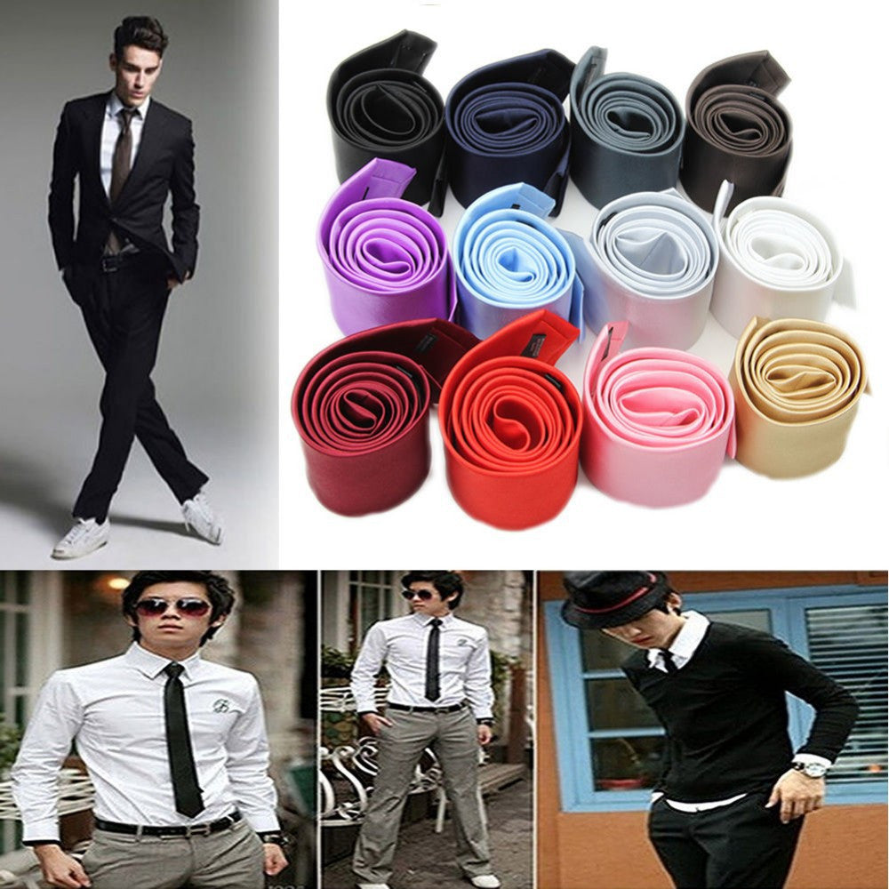 New Skinny Tie for men 5cm Solid Color Plain Necktie