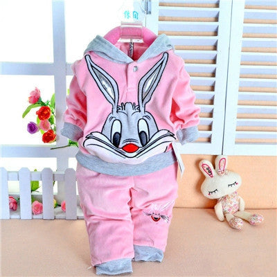 Spring baby set cartoon rabbit velvet set twinset long sleeve set hoodie and pant children clothing