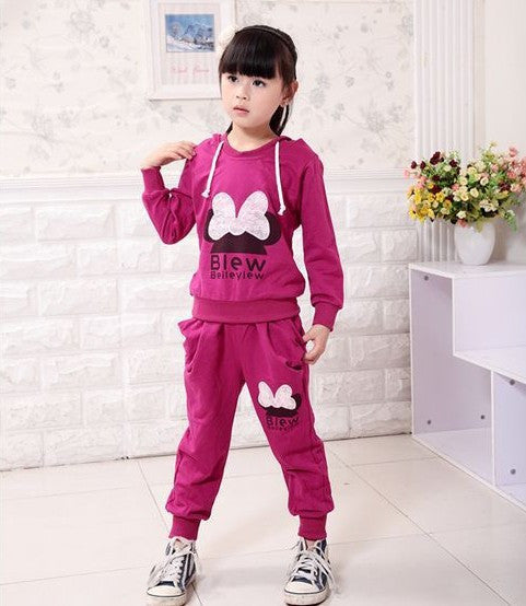 Children 2 pcs suit Cartoon girl clothing set hoodie+pants autumn baby set