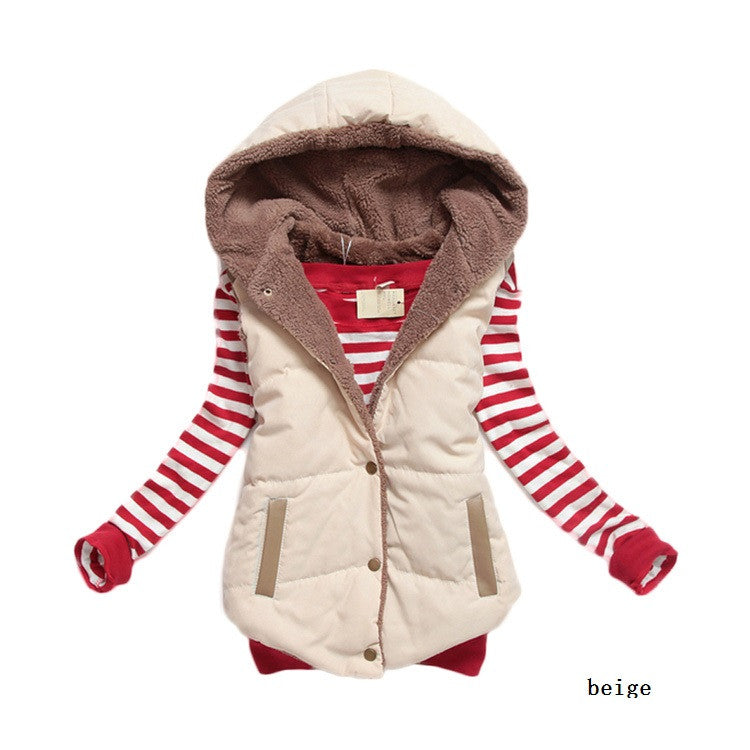 Hot new women's autumn and winter 2015 fashion hooded thick warm down cotton vest cotton vest wild big yards