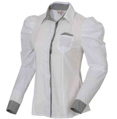 Hot Sell White Women Shirt Sexy Ol Women Fashion Turn-Down Collar Shrug Bubble Long Sleeve Slim Cotton Shirt Blouse Top