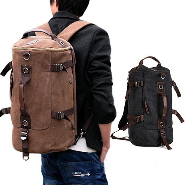 Men's Casual Vintage Canvas Backpack Messenger Rucksack school Satchel Crossbody Outdoor Hiking Camping bag BackPack