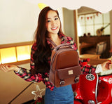 New fashion women backpacks patchwork bear girl student school bags pu leather travel rucksack